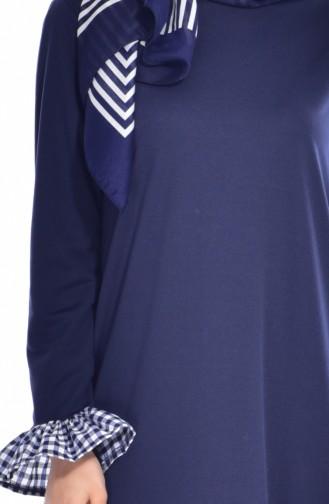 Navy Blue İslamitische Jurk 3302-08