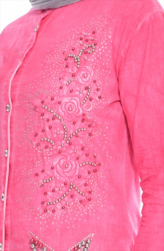 Chemise Bordée et Perlées 0016-04 Corail 0016-04