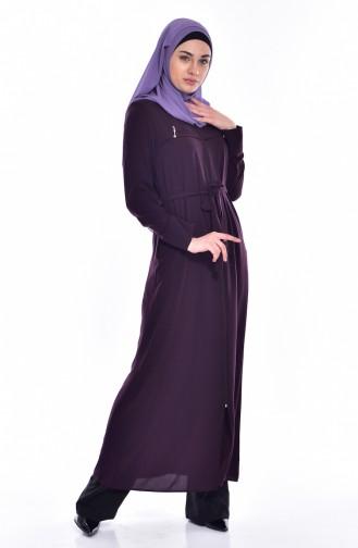 عباءة بتصميم سحاب مع حزام للخصر  2516-03