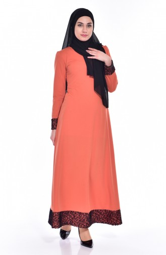 Kleid mit Netz Detail 3306-01 Orange 3306-01