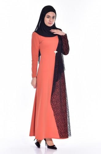 Orange İslamitische Jurk 3307-03