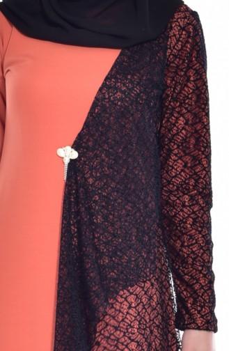 Kleid mit Netz Detail 3307-03 Orange 3307-03