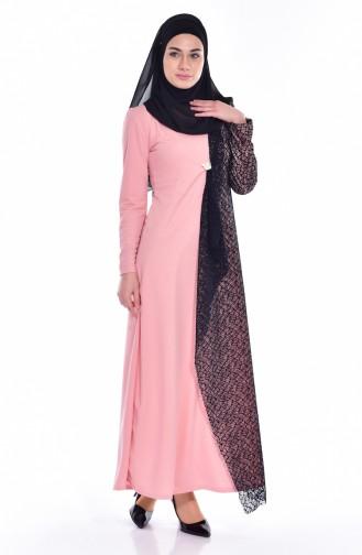 Kleid mit Netz Detail 3307-05 Puder 3307-05