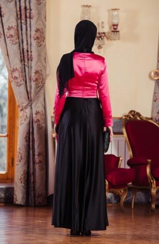 Gefaltetes Abendkleid 701083-01 Fuchsia Schwarz 701083-01