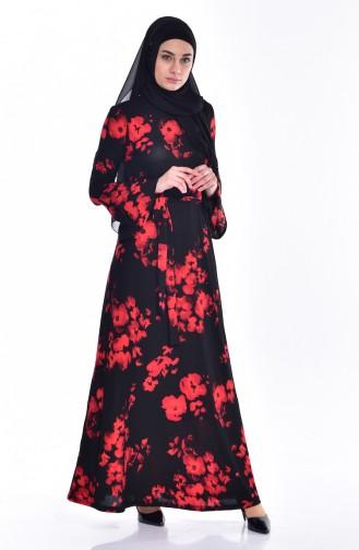 Gemustertes Kleid mit Gürtel 1644D-01 Schwarz Rot 1644D-01
