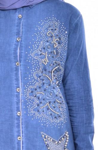 Perlen Hemd mit Stickerei  0016-01 Jeans Blau 0016-01