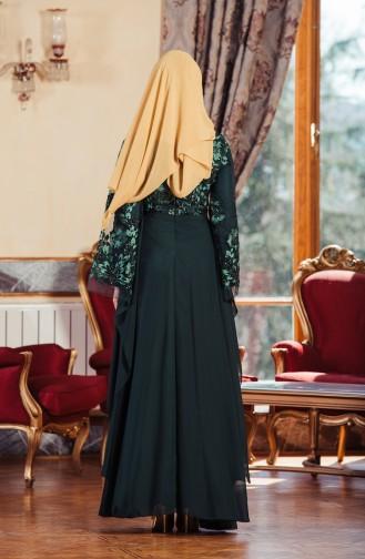 Payet İşleme Detaylı Abiye Elbise 52683-03 Yeşil