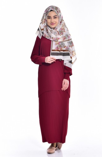 Pleated Skirt Blouse Binary Suit 1889-16 Claret Red 1889-16