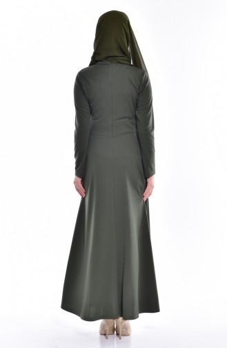 Robe Perlées avec Noeud 0037-07 Khaki 0037-07