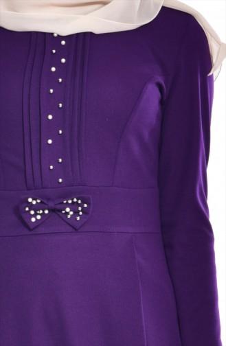 Robe Perlées avec Noeud 0037-03 Pourpre 0037-03