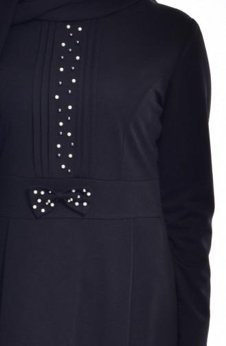 فستان بتصميم مزين بفيونكا بتفاصيل من الؤلؤ عند الخصر  0037-06