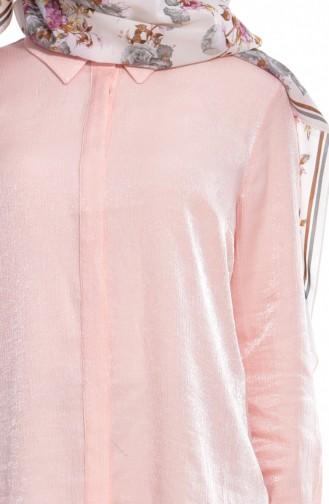Gizli Düğmeli Gömlek 7015-01 Somon