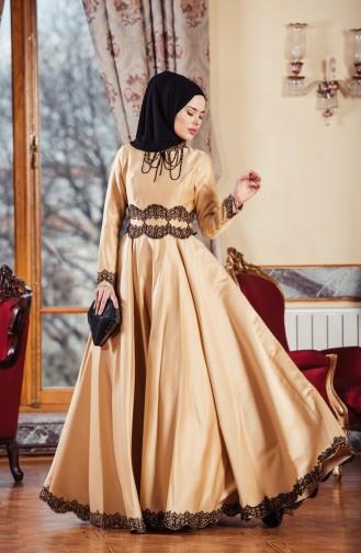 Taşlı Abiye Elbise 701224-03 Gold 701224-03
