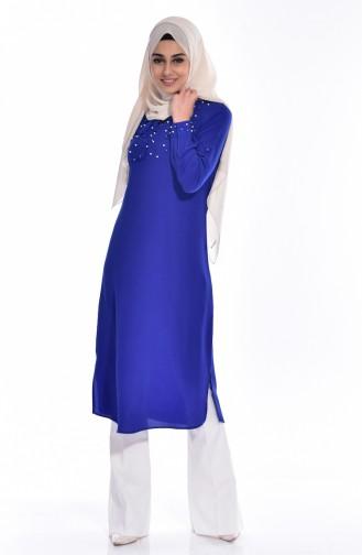 Tunique Bordée de Perles 4874-01 Bleu Roi 4874-01