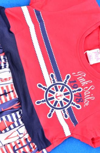 Kız Çocuk Elbise 9527-01 Kırmızı