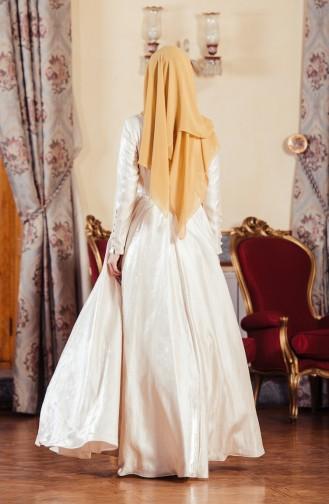 Cream Islamic Clothing Evening Dress 701241-02