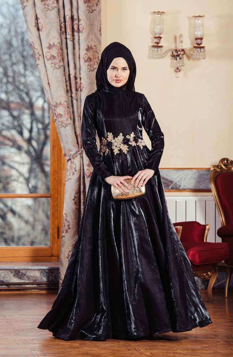 80cba62752ac0 فساتين سهرة بتصميم اسلامي أسود 701241-03