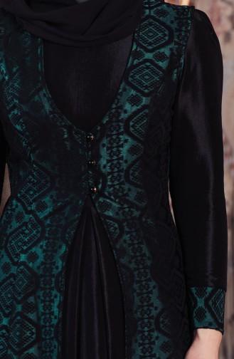 Robe De Soirée Jacquard Gilet 701159-01 Vert emeraude 701159-01