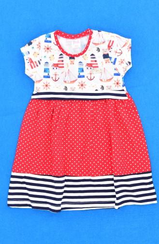 Kız Çocuk Elbise 9510-01 Kırmızı