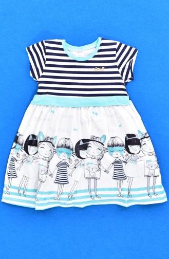 فستان أطفال بتصميم مُخطط 9501-04