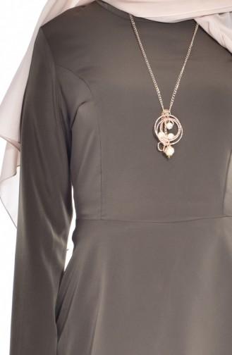 Asymmetrisches Tunika mit Halskette 51255-05 Grün 51255-05