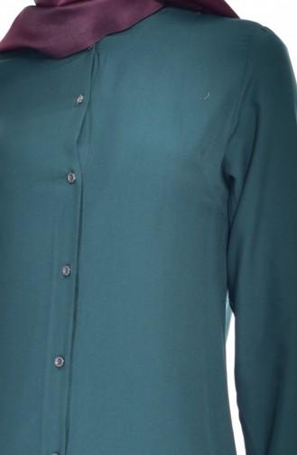 Yırtmaçlı Viskon Tunik 6309-07 Zümrüt Yeşili