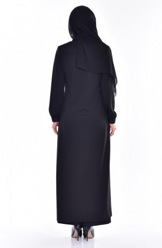 Perlen Abaya mit Stickerei 0153-01 Schwarz 0153 -01