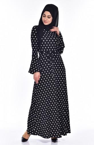 Puantiyeli Kuşaklı Elbise 1644E-01 Siyah Beyaz