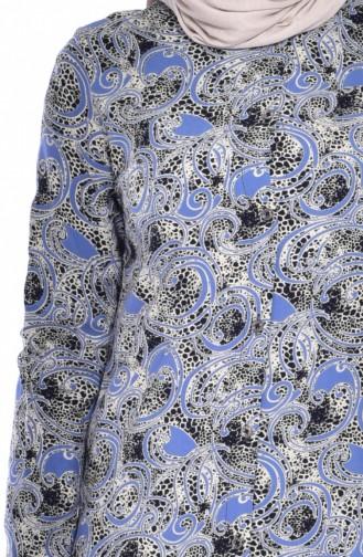 Tunique Emprime Viscose 2444-04 Bleu 2444-04