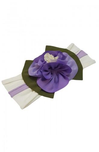 Bandana mit Blumen NB49 Naturfarbe-Lila 49