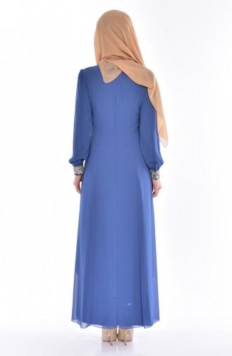 Tesettür Elbise FY 52221-24 İndigo