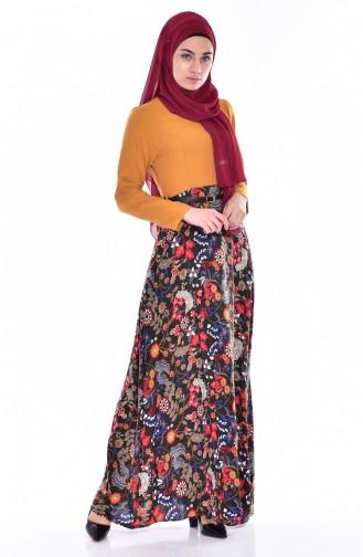 فستان بتصميم مطبع مع حزام خصر  5737-01