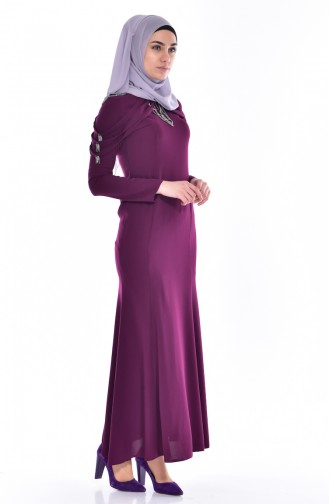 Robe Bordée de Pierre 3384-05 Plum 3384-05