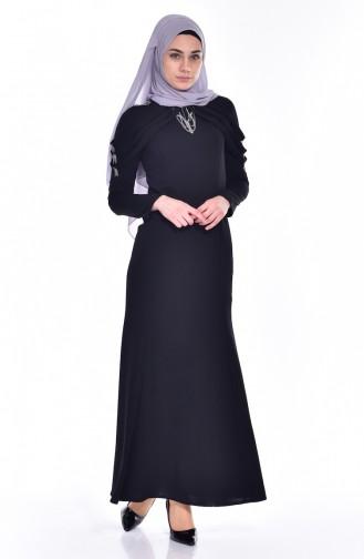 Kleid mit Apolet aus Strassstein 3384-04 Schwarz 3384-04