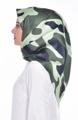 Echarpe Taffetas a Motifs Camouflage 95043-06 Vert 06