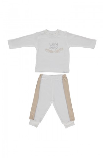 Bebetto Ensemble Mini Pyjama Peigné F943-BJ-01 Beige 943-BJ-01