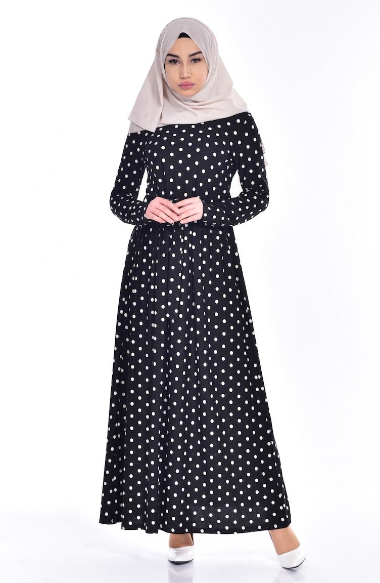 38b62f3f22b3e فستان بتصميم منقط مع تفاصيل من الدانتيل 1642C-01