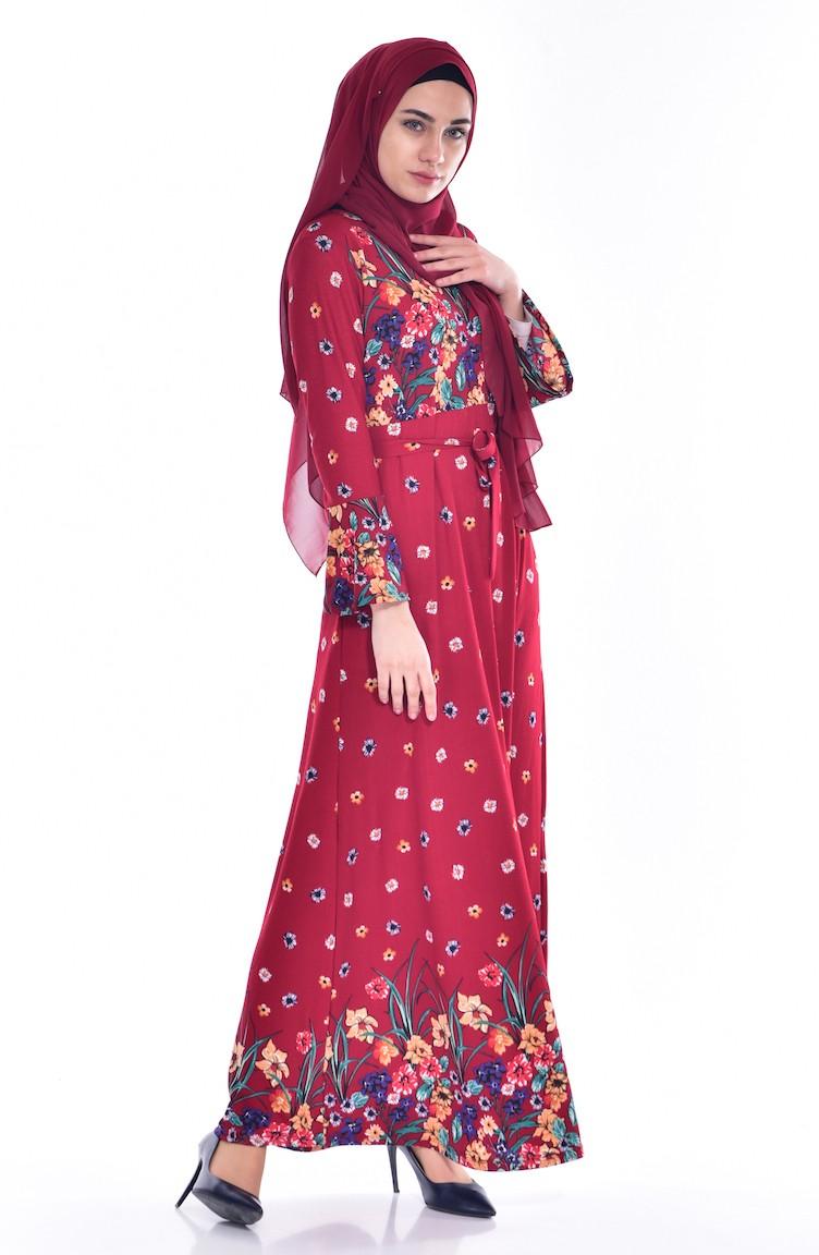 4f262dd4d035c Çiçek Desenli Kuşaklı Elbise 0229-02 Bordo