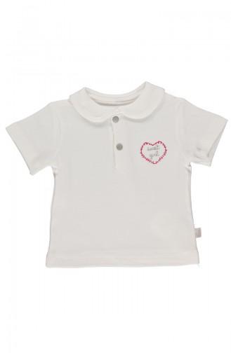 Bebetto Cotton Baby Collar T-Shirt K1854-EKR-01 Light Beige 1854-EKR-01
