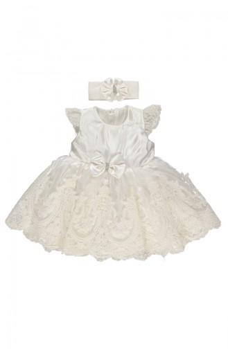 Bebetto Saten Dantelli Elbise K1901-EKR-01 Ekru 1901-EKR-01