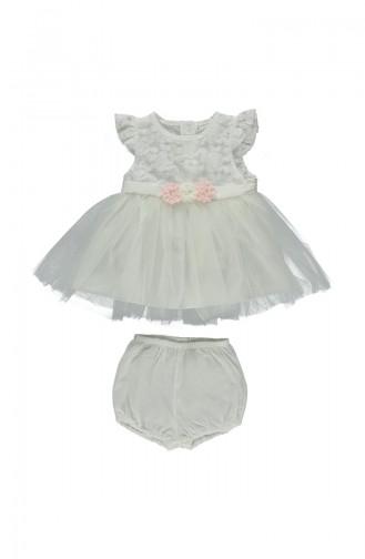 ببيتو فستان أطفال مُزين بالدانتيل بتصميم مكون من قطعتين K1649-EKR-01 لون بيج فاتح 1649-EKR-01