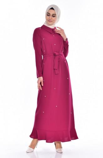 فستان بتصميم سادة مع تفاصيل من اللؤلؤ  60683-08