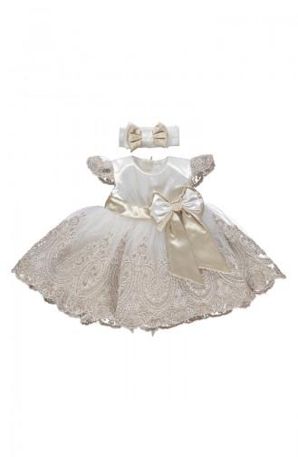 Bebetto Saten Dantelli Elbise K1902-GLD-01 Gold