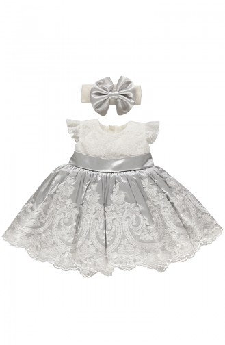 Bebetto Satin Lacy Dress K1899-GR-01 Gray 1899-GR-01