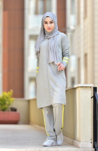 Zippered Tracksuit Suit 18050-13 Gray Yellow 18050-13