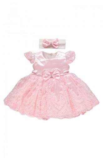 Bebetto Satin Kleid mit Spitzen K1901-GLKRS-01 Rosa 1901-GLKRS-01