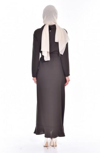 فستان بتصميم سادة مع تفاصيل من اللؤلؤ  60683-07
