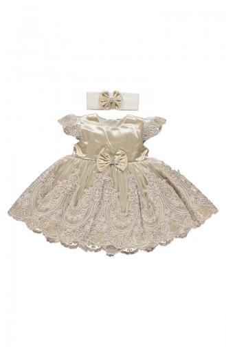 Bebetto Satin Kleid mit Spitzen K1901-KHV-01 Kaffee 1901-KHV-01