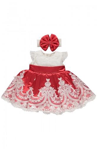 Bebetto Satin Lacy Dress K1899-KRMZ-01 Red 1899-KRMZ-01