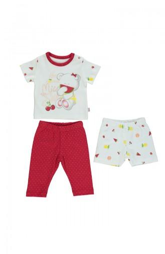 Bebetto Cotton Footed Pajama Set 3 Pcs F951-KRMZ-01 Red 951-KRMZ-01